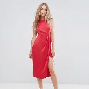 ASOS red backless midi dress